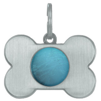 Frozen Water Ice Blue Frost Chic Winter Metallic Pet Name Tag