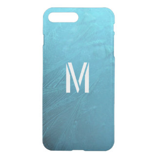 Frozen Water Winter Ice Blue Monogram Initial M iPhone 7 Plus Case