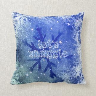 Frozen Watercolor Snowflake - let's snuggle Cushion