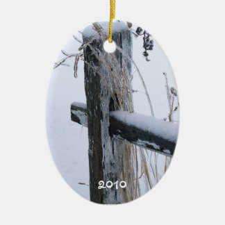 "Frozen Wheat Stalks on Fence-""Lean on Me"" Ceramic Ornament"