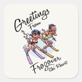 Frozover Ski Resort Square Sticker