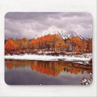 FRST SNOW AT OXBOW BEND IN GRAND TETON MOUSE PAD