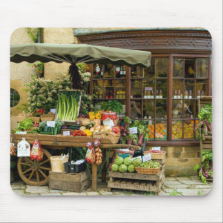 Fruit and Veg Colorful English Village Store Mouse Pad