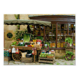 Fruit and Veg Colorful English Village Store Poster