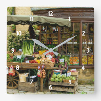 Fruit and Veg Colorful English Village Store Square Wall Clock