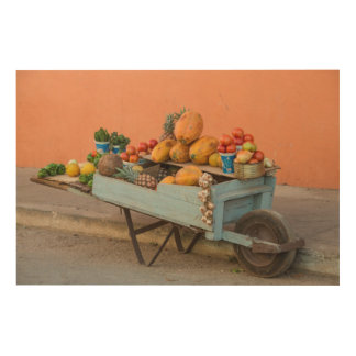 Fruit and vegetable cart, Cuba Wood Wall Art