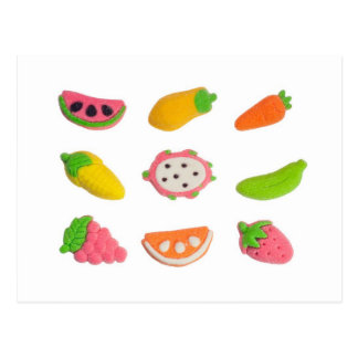 Fruit and vegetable shaped gummy candy postcard