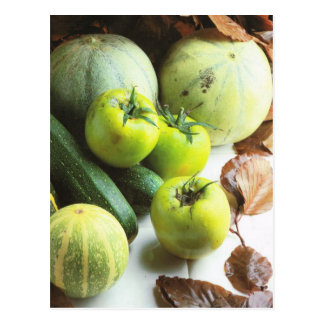 Fruit and vegetables, Green tomatoes and melons Postcard