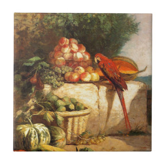 Fruit and Vegetables with a Parrot by Eugene Boudi Small Square Tile