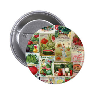 Fruit and Veggies Seed Catalog Collage Buttons