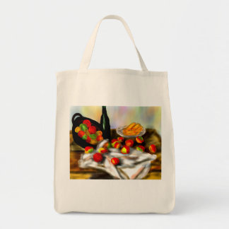 fruit and wine on table grocery tote bag