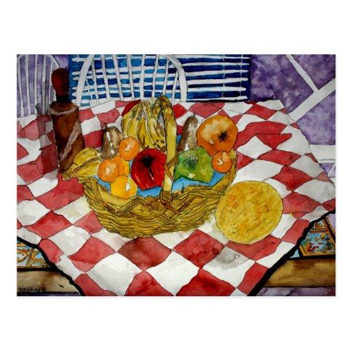 fruit basket still life art postcards painting