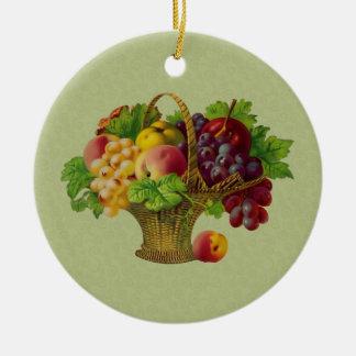 Fruit Basket Vintage Art Ornament