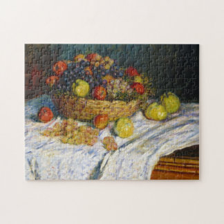 Fruit Basket with Apples and Grapes Claude Monet Jigsaw Puzzle