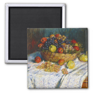 Fruit Basket with Apples and Grapes Claude Monet Square Magnet