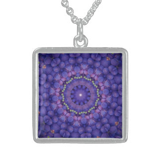FRUIT BOHEMIAN KALEIDOSCOPIC GEOMETRIC MANDALA  CO STERLING SILVER NECKLACE