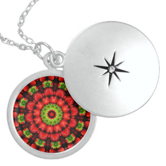 FRUIT BOHEMIAN KALEIDOSCOPIC GEOMETRIC MANDALA LOCKET NECKLACE