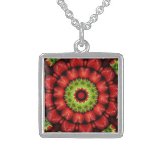 FRUIT BOHEMIAN KALEIDOSCOPIC GEOMETRIC MANDALA STERLING SILVER NECKLACE