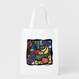 Fruit Bowl Bright Colors Reusable Grocery Bag