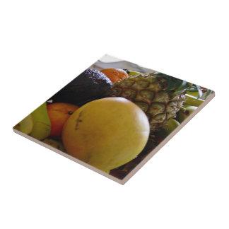 Fruit bowl with mango foremost ceramic tile
