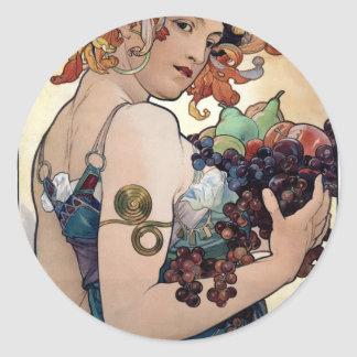 Fruit by Alfons Mucha 1897 Classic Round Sticker
