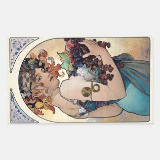 Fruit by Alfons Mucha 1897 Rectangular Sticker