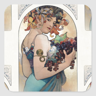Fruit by Alfons Mucha 1897 Square Sticker