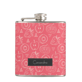 Fruit Cut in Half Pattern with First Name Hip Flask