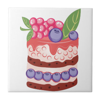 Fruit Layer Cake Small Square Tile