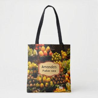 Fruit market tote bag in yellow green brown