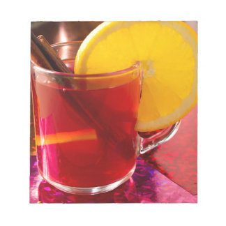 Fruit mulled wine with cinnamon and orange notepad