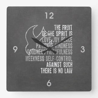 Fruit of the Spirit Chalkboard Look with Dove Square Wall Clock