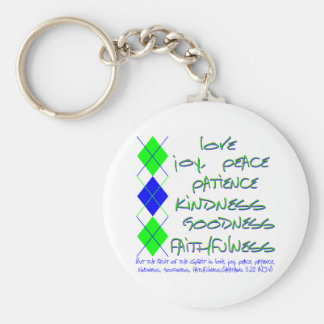 fruit of the spirit green and blue basic round button key ring