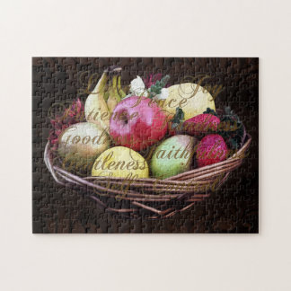 Fruit of the Spirit, Painted Brown Basket Jigsaw Puzzle