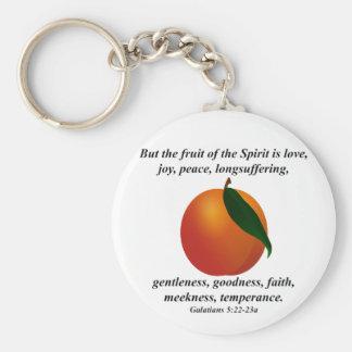 Fruit of the Spirit Peach / Apricot Bible Verse Key Ring