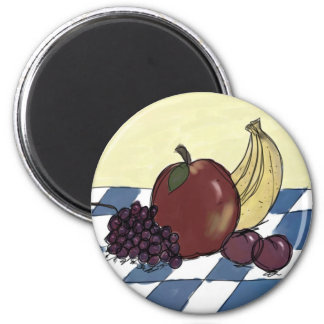 Fruit on a Blue and White Tablecloth Magnet