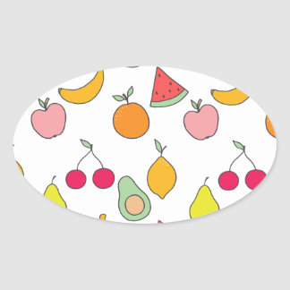 fruit pattern oval sticker