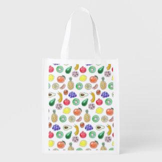 Fruit pattern reusable grocery bag