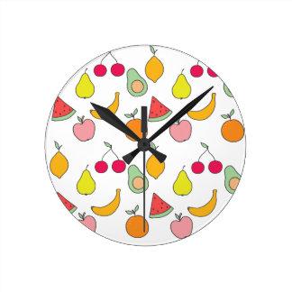 fruit pattern round clock
