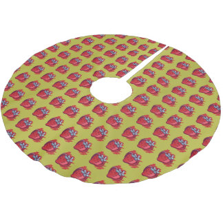 Fruit Pattern Strawberries on gold Party Stuff Brushed Polyester Tree Skirt