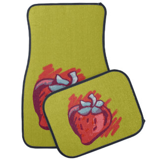 Fruit Patterns Strawberries on gold for Him Car Mat