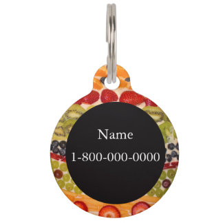 Fruit Pizza Close-Up Photo Personalizable Pet ID Tag