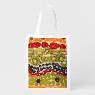 Fruit Pizza Close-Up Photo Reusable Grocery Bag