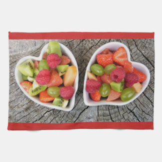 Fruit Salad  and Heart Dish Kitchen Towels