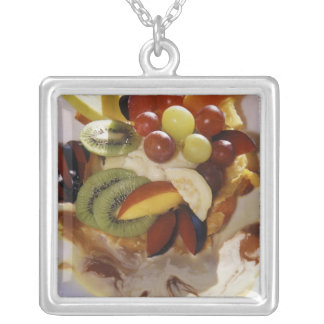 Fruit salad with ice cream. square pendant necklace