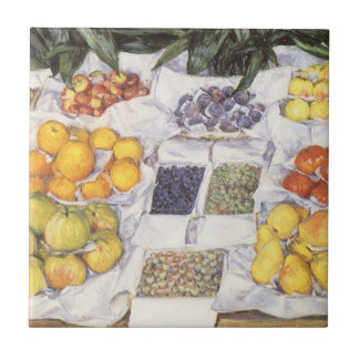 Fruit Stand by Gustave Caillebotte, Vintage Art Small Square Tile