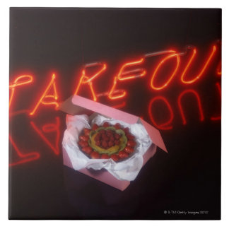 Fruit tart with neon take-out sign ceramic tile
