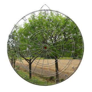 Fruit trees with green leaves in spring dartboard