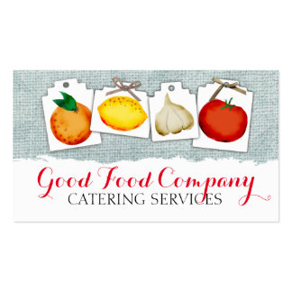 Fruit vegetable tags shabby burlap chef catering pack of standard business cards