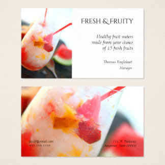 Fruit water with peach and watermelon business card